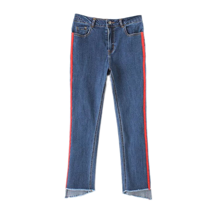 2017 walking side stripe trousers with fashionable irregular edges of nine elastic jeans womenОдежда и ак�е��уары<br><br><br>Aliexpress