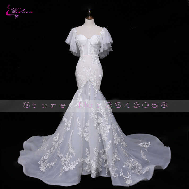 Waulizane Sparkly Embroidery Sexy Sweetheart Mermaid Wedding Dress Hot Sale Elegant Appliques Court Train Lace Bridal dress