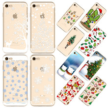 Christmas Case For iPhone 7 8  Santa Claus Tree Soft TPU Smowing Phone Shell Capa Bag Housing for Apple iPhone 8 i7