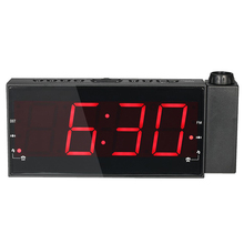 FM 1.8 Radio controlled Digital LED Projection display Alarm Clock with LED Display USB Charging table clock desktop alarm clock(China)