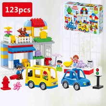 123pcs/set Bus Station Big Building Blocks Compatible with Duplo Baby DIY Toys Gift for Boys
