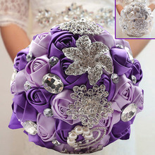 Fashion Sparkle Crystal Beaded Flowers Bouquet Bridesmaid Bridal Brooch Artifical Bouquets Wedding Supplies Hogard