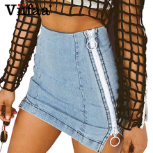 Buy Viifaa High Waist Denim Skirt Women Side Zipper Sexy Pencil Skirt 2018 Summer School Short Mini Skirts for $15.99 in AliExpress store