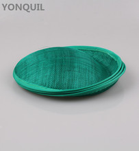 20cm Dark Green  Solid Round Sinamay headwear Fascinator Hat Base material Handmade DIY women's hair accessories Church party