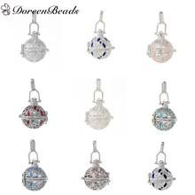 DoreenBeads Silver color Enamel Copper Wish Box Pendants Hollow Can Open (Fit Bead Size: 18mm) 44mm x 26mm, 1 PC