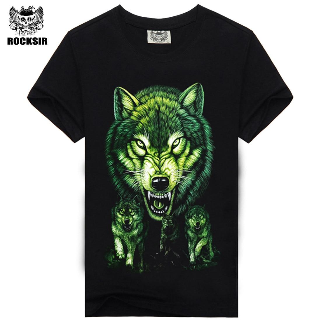 Rocksir 3d wolf t shirt mens Brand 3D Indians wolf Print t shirts Cotton wolves Men t-shirt Casual Man Tees Mens Tops 15