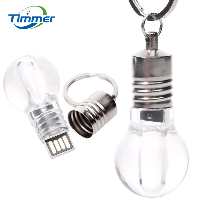 Free Shipping light bulb pendrives 4GB 8GB 16GB 32GB 64GB Light LED Bulb USB Flash Drive Key Ring(China (Mainland))