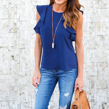 Stylish Sexy Women clothes Summer round neck solid Sleeveless Shirts pullover Casual Loose Chiffon Blouses one pieces