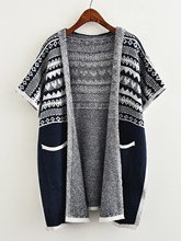 2017 new long models Womens hooded cape shawl knitted cardigan Contrast Trim Aztec Pattern Hooded Knit Coat(China)