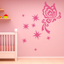 Abstract Star Butterflies Wall Sticker Girls Bedroom Decorative Vinyl Removable DIY Wall Decal Home Decor Accessories