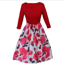 Rrockabilly Vintage DresSkirt Floral Print 50s 60s Style Dres Women O-neck Sleeveless Party Clubwear Formal Dres Free Shipping