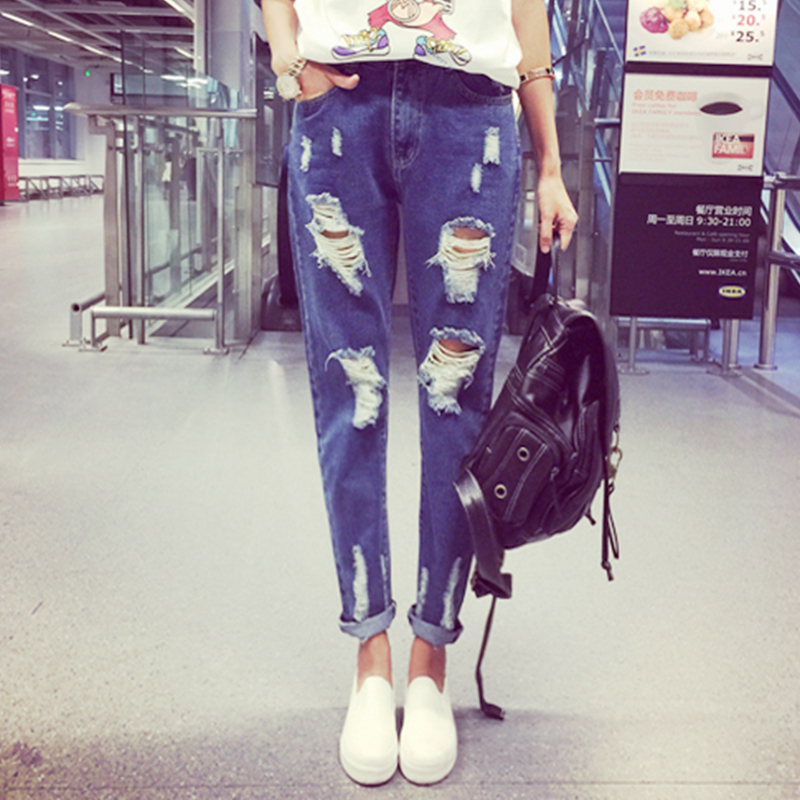 2017 Womens Hots Jeans Light Bule Pencil Pant For Female Washed Ripped Denim Pant Skinny Hole Women Jeans american apparelОдежда и ак�е��уары<br><br><br>Aliexpress