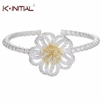 1Pcs Fashion Original 925 Silver Dazzling Daisy Flower Ring Twrist Rings Clear CZ for Women Wedding Finger Rings Jewelry