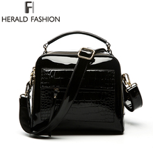 Herald Fashion Women Patent Leather Handbags Crocodile Design Shopper Tote Bag Female Luxurious Shoulder Bags