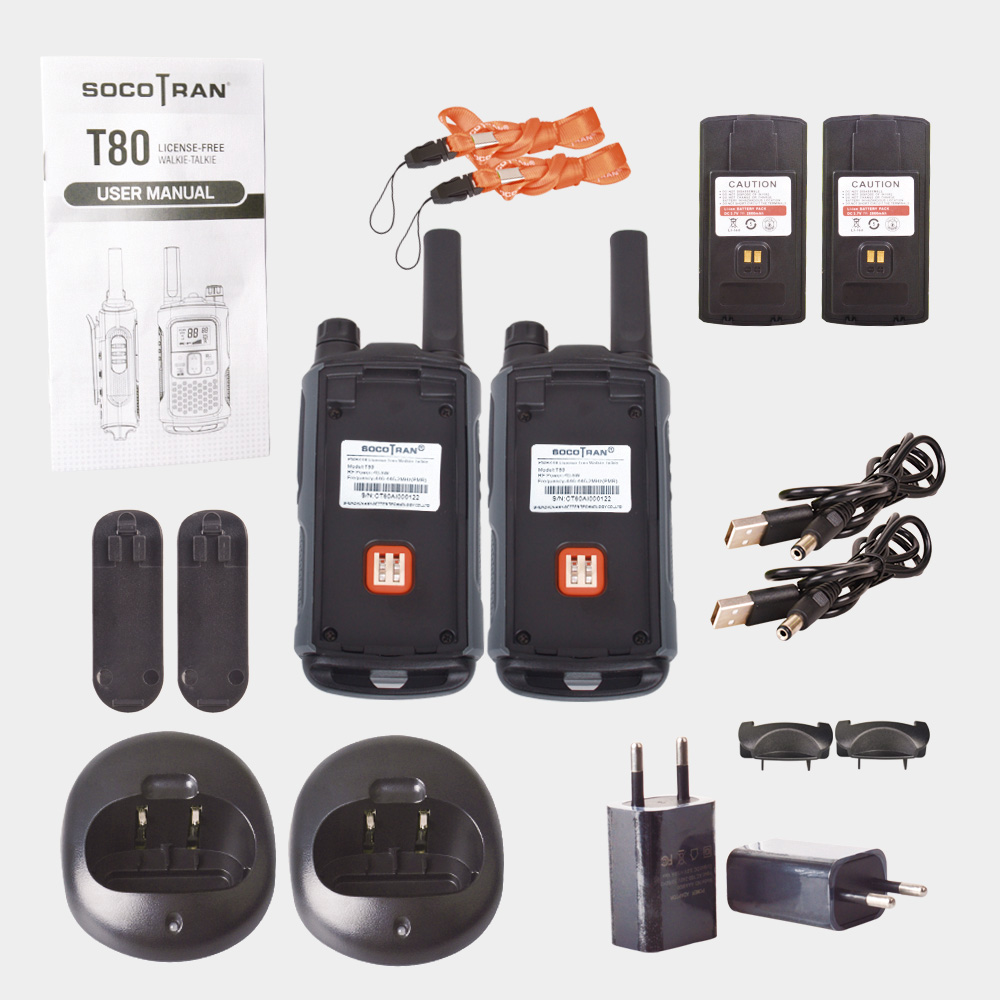Rechargeable walky talky long distance T80 pmr walkie talkie with privacy code VOX PMR446 ham Radio License free two way radio