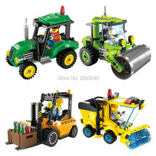 Small blocks City Construction Road Roller Forklift Truck Tractor Sweeper Truck Building Block Kids Toy Compatible for children