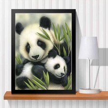 2016 Panda Love Needlework DIY Diamond Painting Kit 3D Hand Make Decorative Painting Cross Stitch Plants Embroidery Beadwork