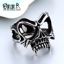 Buy BEIER Unique 316L stainless steel Gothic Casting Evil Damn Vampire Skull mark Ring Punk jewelry man free BR8-510 for $3.98 in AliExpress store