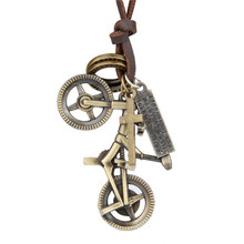 Vintage Metal Bicycle Pendants Necklace for Men Women Cowhide Rope Necklace Fashion Charms Jewley