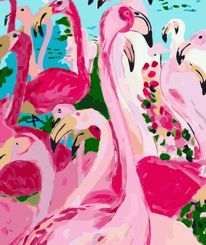 2017 New 22 styles Digital Diy oil painting by numbers Flamingo picture on canvas oil paint coloring by number drawing x38 20
