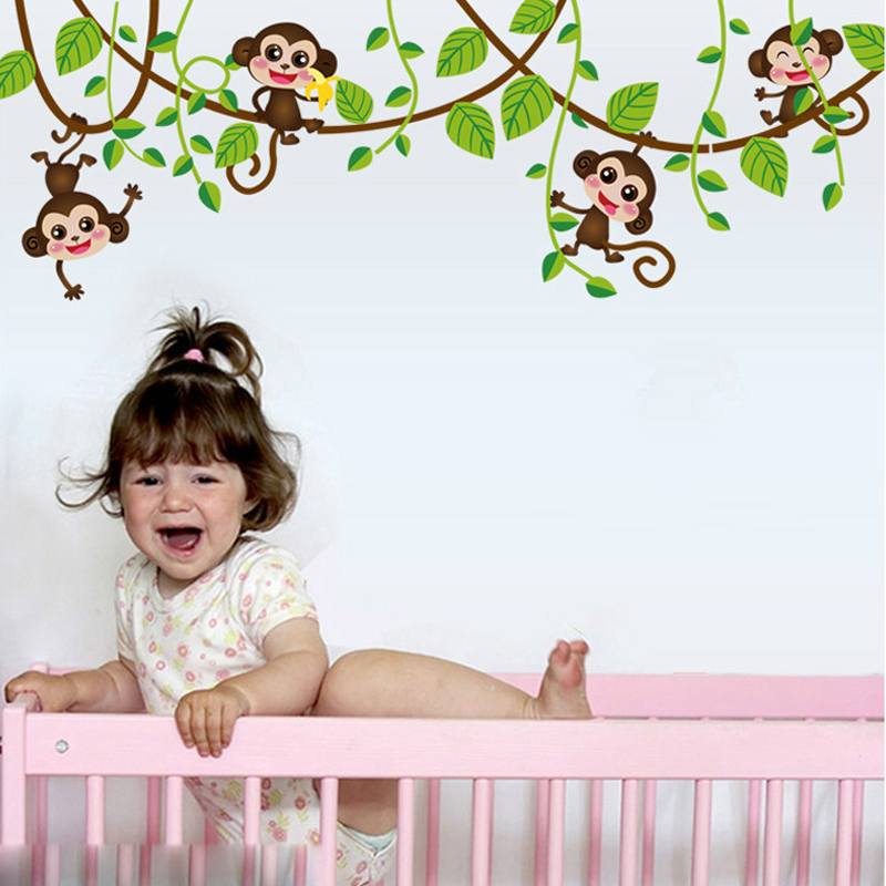 HTB1FQH3SpXXXXcxaXXXq6xXFXXXI - Monkeys Vinyl Tree Wall Stickers For Kids Rooms