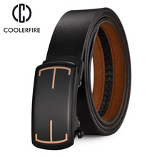 Name Brand Design Genuine Leather Mens Belts Luxury Cowhide Belt Strap High Quality Automatic Buckle Belts For Male ZD010(China)