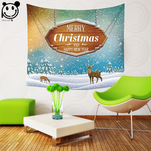 PEIYUAN Tapestry Merry Christmas and Happy New Year Print Snow Reindeer Town Color Light Bulb Gift Beach Towel Home Decor(China)