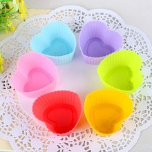 Hot 6pcs 6color 7cm large heart-shaped silicone cupcake muffin cup cake pan baking tools for cakes cooking  tools A031