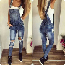 2017 summer autumn women sexy hole ripped blue denim overall jumpsuit female jean bodysuit long pants girl playsuit P1863