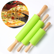 TTLIFE 1 Piece Hot Selling Rolling Pin Home Decoration Kitichen Cooking Tools Wood Handle Green Silicone Rolling Pins