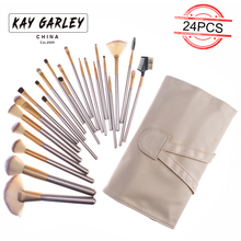 KAY GARLEY 12/18/24pcs makeup brush set with pu leather magnet bag soft synthetic hair professional makeup artist brush tool kit