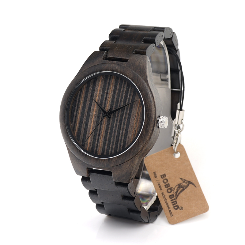BOBO BIRD H07 Black Sandal Wood Wristwatch Dark Brown Dial Basic Mens Quartz Watch with Wood/Leather Strap Available<br><br>Aliexpress