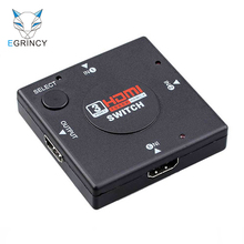 EGRINCY Mini 3 Port HDMI Switch Switcher Splitter 3 Input 1 Output Box HDMI Cable Selector For PS3 PS4 Smart HDTV Xbox 360 1080P