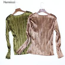 Buy Hermicci 2017 New Velvet T-shirt Women's Spring Autumn Long Sleeve Velour Tops Solid Color Pleated Shirts Women Fashion Tee for $7.56 in AliExpress store