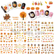 Thanksgiving Nail Art Water Transfer Nail Stickers Decal Tips Harvest Holiday Autumn Maple Leaves Pumpkins Turkey(China)