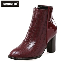 SIMLOVEYO Women boots Ankle high shoes Plus size 32-43 Crocodile PU Side Zip Med Square heel Fashion boot Woman New Pleated Cool