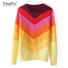 FinalFit Rainbow Sweater Women Jumpers Autumn Wool Stripe Sweater Pullover 2017 Female Chandail Pull Femme Sueter Mujer(China)