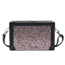 SKLEAF new fashion sequined square box bag trunk small lady shoulder bag lock catch women messenger bags