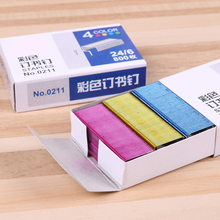 800Pcs/pack Colorful Staples Office Effective trumpet Mini stapler with Stationery Office School Supplies