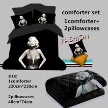 3D bedding sets Marilyn Monroe comforter set 200*230cm comforter +two pillowcase black 3D monroe white 3d bed linens bedclothes(China)