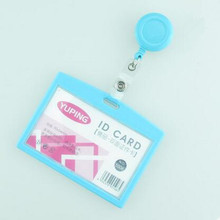 1pcs Sky Blue Color Retractable Reel For Ski Pass ID Bus Card Case Badge Holder Horizontal Style Office School Supplies