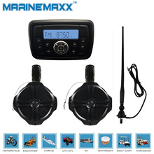 "Waterproof Marine Stereo MP3 +1Pair 6.5"" Marine WakeBoard Tower Speakers Totaling 500 Watts Boat Off-Road ATV UTV RZR+1 Antenna"