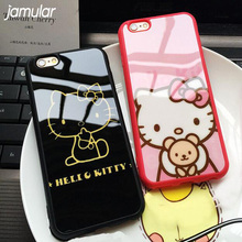 JAMULAR Silicone Mirror Cute Hello Kitty Cartoon Case For Apple iphone 7 Plus 6 6s 8 Plus 5 5s SE Cases Back Cover Fundas Coque(China)