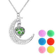 Vintage Hollow Out Moon Essential Oil Diffuser Perfume Aromatherapy Locket Necklace For Women Best Gifts