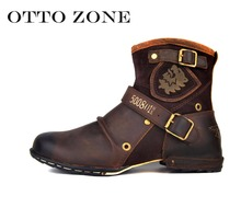 OTTO ZONE Men's Autumn/Winter Martin Boots Genuine Cow Leather High Top Ankle Boots Cotton-Padded Leather Shoes Size EU 38-45(China)