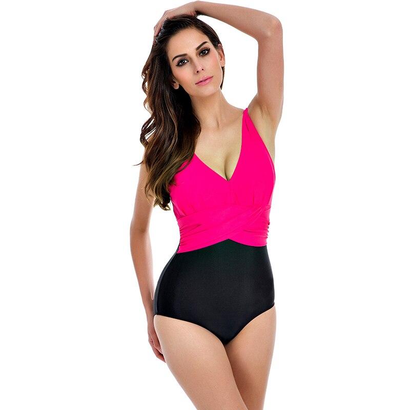 One Piece Swimsuit Plus Size Swimwear Women 2016 High Waisted Bathing Suits Beachwear Backless Halter Vintage Swim Wear Swimsuit<br>