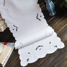White Table Runner Embroidery Cotton Table Runner 2 Size Avaliable