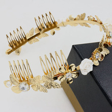 Hot Europe Baroque zircon Pearl Jewels combs Gold butterfly Headband flower Hairband Bridal Hair Jewelry Wedding Dress Accessory