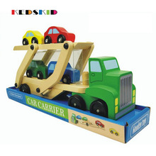 Wooden Double Decker Car Carrier Truck&Cars Wooden Toys Set With 1 Truck and 4 Cars Classic Model Toys for Children Toy Vehicles(China)