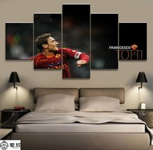 5 Panel Totti AS Roma Serie A Canvas Printed Painting For Living Picture Wall Art HD Print Decor Modern Artworks Football Poster